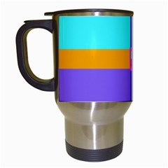 Right Angle Squares Stripes Cross Colored Travel Mugs (white)