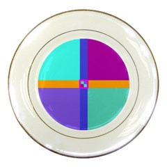 Right Angle Squares Stripes Cross Colored Porcelain Plates by EDDArt