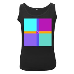 Right Angle Squares Stripes Cross Colored Women s Black Tank Top
