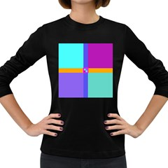 Right Angle Squares Stripes Cross Colored Women s Long Sleeve Dark T Shirts