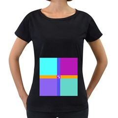 Right Angle Squares Stripes Cross Colored Women s Loose Fit T Shirt (black) by EDDArt