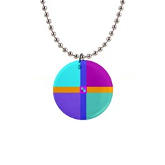 Right Angle Squares Stripes Cross Colored Button Necklaces by EDDArt