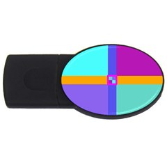 Right Angle Squares Stripes Cross Colored Usb Flash Drive Oval (4 Gb)  by EDDArt