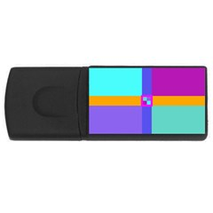 Right Angle Squares Stripes Cross Colored Usb Flash Drive Rectangular (4 Gb)  by EDDArt
