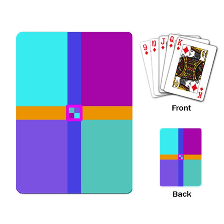 Right Angle Squares Stripes Cross Colored Playing Card