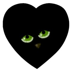 Halloween   Back Cat Jigsaw Puzzle (heart) by Valentinaart
