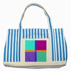 Right Angle Squares Stripes Cross Colored Striped Blue Tote Bag