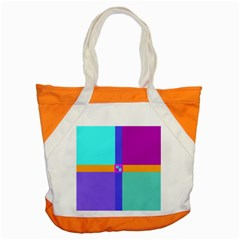 Right Angle Squares Stripes Cross Colored Accent Tote Bag by EDDArt