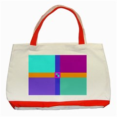 Right Angle Squares Stripes Cross Colored Classic Tote Bag (red) by EDDArt