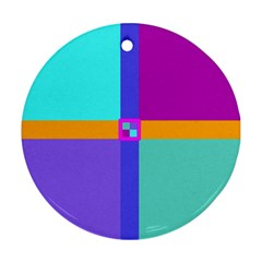 Right Angle Squares Stripes Cross Colored Round Ornament (two Sides)  by EDDArt
