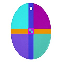 Right Angle Squares Stripes Cross Colored Oval Ornament (two Sides) by EDDArt