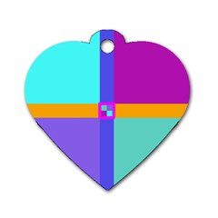 Right Angle Squares Stripes Cross Colored Dog Tag Heart (one Side) by EDDArt