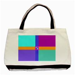 Right Angle Squares Stripes Cross Colored Basic Tote Bag (two Sides) by EDDArt