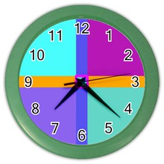 Right Angle Squares Stripes Cross Colored Color Wall Clocks by EDDArt
