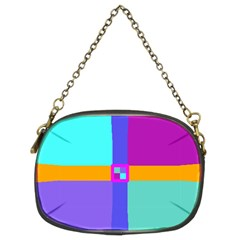 Right Angle Squares Stripes Cross Colored Chain Purses (two Sides)  by EDDArt