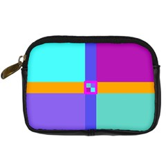 Right Angle Squares Stripes Cross Colored Digital Camera Cases by EDDArt