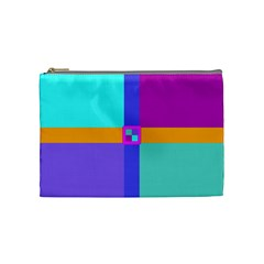 Right Angle Squares Stripes Cross Colored Cosmetic Bag (medium)  by EDDArt