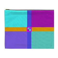 Right Angle Squares Stripes Cross Colored Cosmetic Bag (xl) by EDDArt