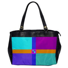 Right Angle Squares Stripes Cross Colored Office Handbags by EDDArt