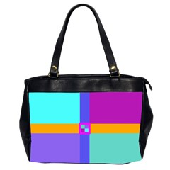 Right Angle Squares Stripes Cross Colored Office Handbags (2 Sides)  by EDDArt