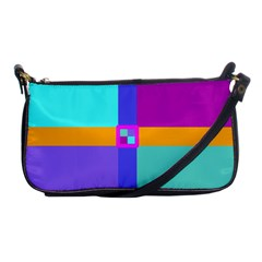 Right Angle Squares Stripes Cross Colored Shoulder Clutch Bags by EDDArt