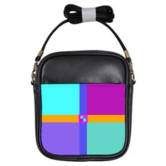 Right Angle Squares Stripes Cross Colored Girls Sling Bags by EDDArt