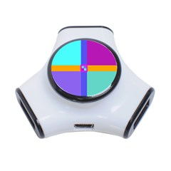 Right Angle Squares Stripes Cross Colored 3 Port Usb Hub