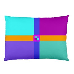 Right Angle Squares Stripes Cross Colored Pillow Case (two Sides) by EDDArt