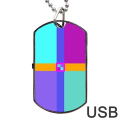 Right Angle Squares Stripes Cross Colored Dog Tag Usb Flash (one Side) by EDDArt