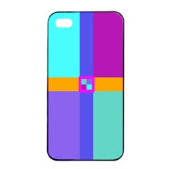 Right Angle Squares Stripes Cross Colored Apple Iphone 4/4s Seamless Case (black) by EDDArt
