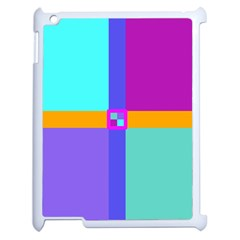 Right Angle Squares Stripes Cross Colored Apple Ipad 2 Case (white) by EDDArt
