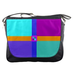 Right Angle Squares Stripes Cross Colored Messenger Bags by EDDArt