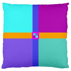 Right Angle Squares Stripes Cross Colored Large Cushion Case (one Side) by EDDArt
