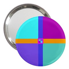Right Angle Squares Stripes Cross Colored 3  Handbag Mirrors by EDDArt