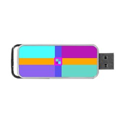 Right Angle Squares Stripes Cross Colored Portable Usb Flash (one Side) by EDDArt