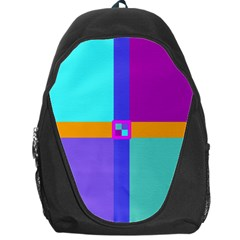 Right Angle Squares Stripes Cross Colored Backpack Bag by EDDArt