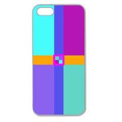 Right Angle Squares Stripes Cross Colored Apple Seamless Iphone 5 Case (clear) by EDDArt