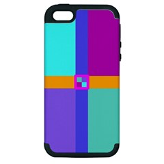 Right Angle Squares Stripes Cross Colored Apple Iphone 5 Hardshell Case (pc+silicone) by EDDArt