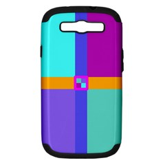 Right Angle Squares Stripes Cross Colored Samsung Galaxy S Iii Hardshell Case (pc+silicone) by EDDArt