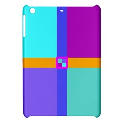 Right Angle Squares Stripes Cross Colored Apple Ipad Mini Hardshell Case by EDDArt