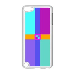 Right Angle Squares Stripes Cross Colored Apple Ipod Touch 5 Case (white) by EDDArt
