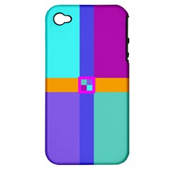 Right Angle Squares Stripes Cross Colored Apple Iphone 4/4s Hardshell Case (pc+silicone) by EDDArt