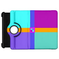 Right Angle Squares Stripes Cross Colored Kindle Fire Hd Flip 360 Case by EDDArt
