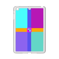 Right Angle Squares Stripes Cross Colored Ipad Mini 2 Enamel Coated Cases by EDDArt