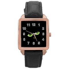Halloween   Back Cat Rose Gold Leather Watch  by Valentinaart