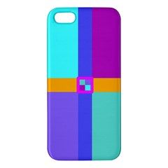 Right Angle Squares Stripes Cross Colored Apple Iphone 5 Premium Hardshell Case by EDDArt