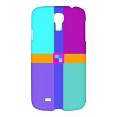 Right Angle Squares Stripes Cross Colored Samsung Galaxy S4 I9500/i9505 Hardshell Case by EDDArt