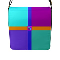 Right Angle Squares Stripes Cross Colored Flap Messenger Bag (l)  by EDDArt
