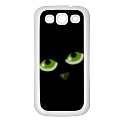 Halloween   Back Cat Samsung Galaxy S3 Back Case (white) by Valentinaart