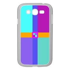 Right Angle Squares Stripes Cross Colored Samsung Galaxy Grand Duos I9082 Case (white) by EDDArt